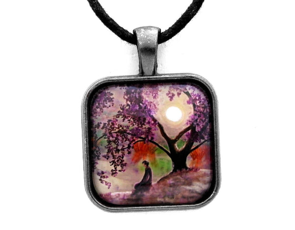 Misty Morning Meditation Square Pendant on Zen Cord