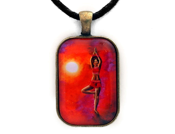 Red Tara Yoga Goddess Handmade Rectangle Pendant Laura Milnor Iverson Official Site