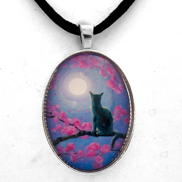 Russian Blue Cat in Pink Flowers Handmade Pendant