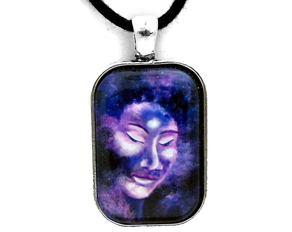 Star Buddha of Equanimity Handmade Rectangle Pendant