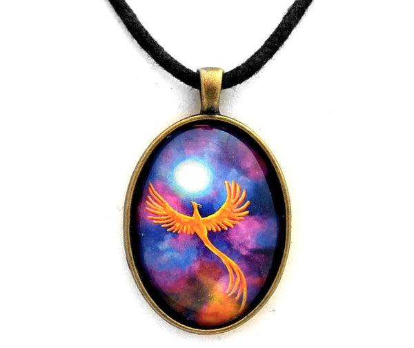 Soaring Firebird In A Cosmic Sky Oval Handmade Pendant Laura Milnor Iverson Official Site