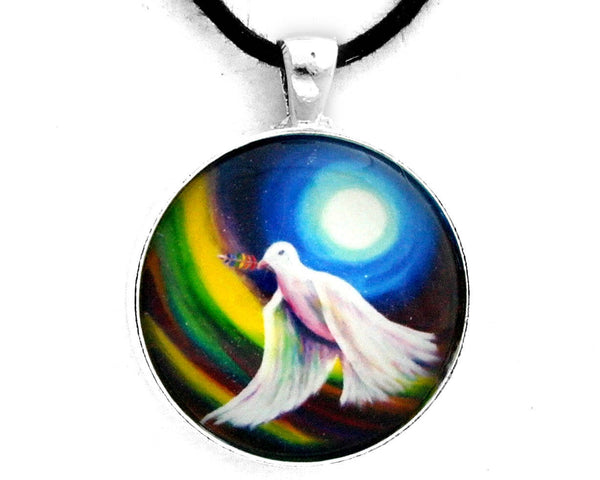 Love is Love Peace Dove Handmade Pendant