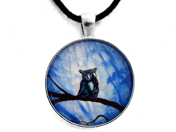 Horned Owl in Deep Blue Woods Handmade Pendant