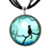 Black Cat in Teal Handmade Pendant