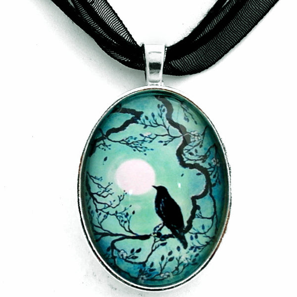 Raven in Teal Handmade Pendant Necklace Laura Milnor Iverson Official Site