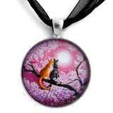 Orange and Gray Tabby Cats in Cherry Blossoms Handmade Pendant