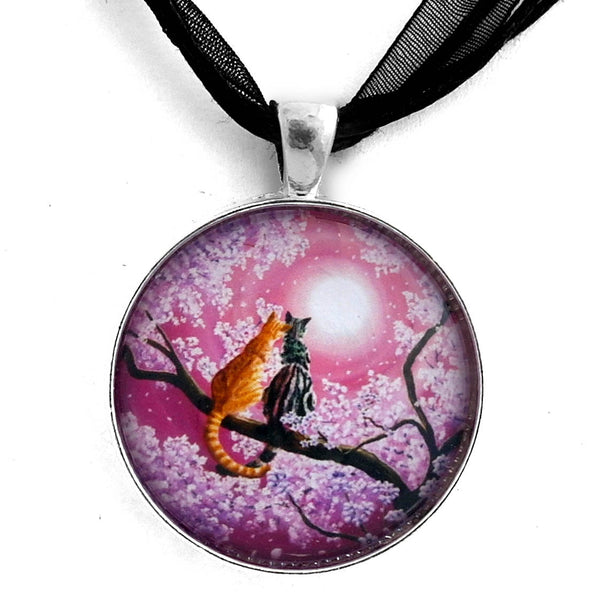 Orange and Gray Tabby Cats in Cherry Blossoms Handmade Pendant - Laura Milnor Iverson Official Site