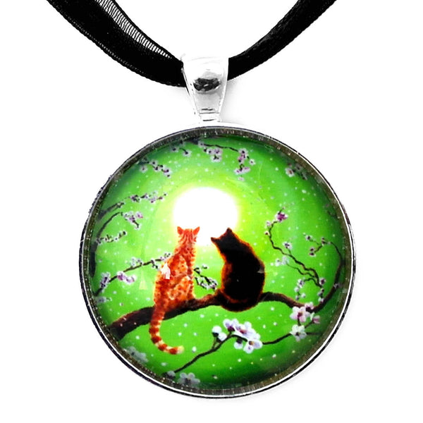 Cats on a Spring Night Handmade Pendant