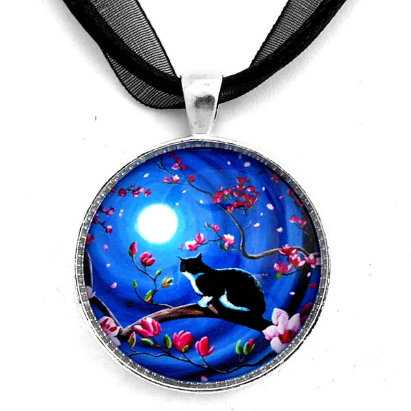 Tuxedo Cat in a Japanese Magnolia Tree Handmade Pendant - Laura Milnor Iverson Official Site