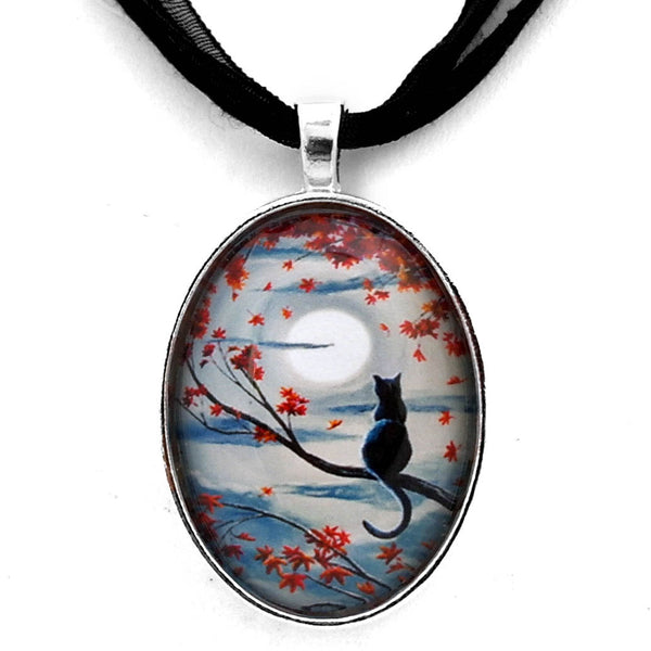 Black Cat in Silvery Moonlight Handmade Pendant