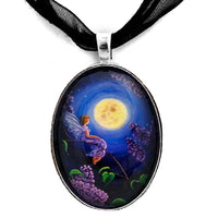 Lilac Fairy Bathed in Moonlight Handmade Pendant Laura Milnor Iverson Official Site
