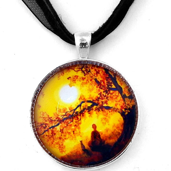 Golden Afternoon Meditation Handmade Round Pendant