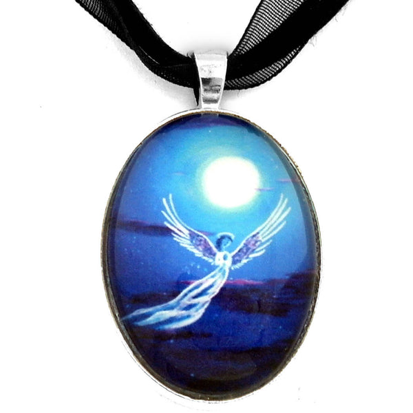 Angel in Blue Starlight Handmade Oval Pendant - Laura Milnor Iverson Official Site