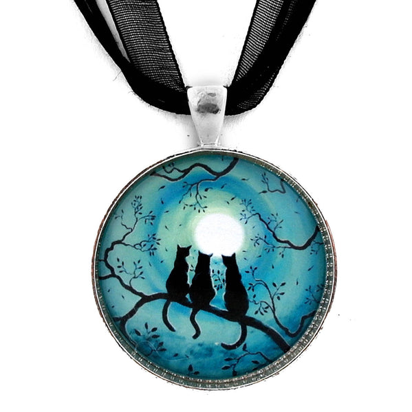 Three Black Cats Under a Full Moon Handmade Pendant Necklace Laura Milnor Iverson Official Site