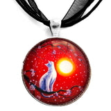 White Cat Necklace Red Sunset Cherry Blossoms Handmade Pendant Art Jewelry Laura Milnor Iverson