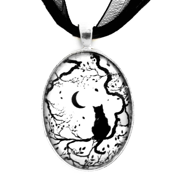 Black Cat and New Moon Silhouette Handmade Pendant