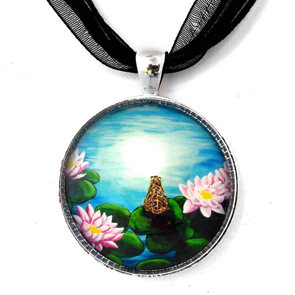 Frog in a Moonlit Pond Handmade Pendant Laura Milnor Iverson Official Site