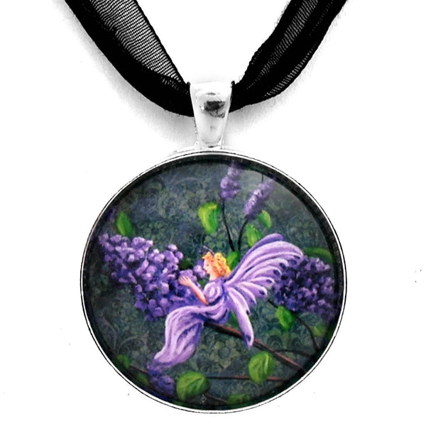 The Scent of Lilacs Handmade Pendant on Ribbon Necklace