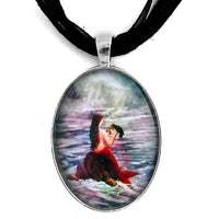 Mermaid and Raven Handmade Pendant