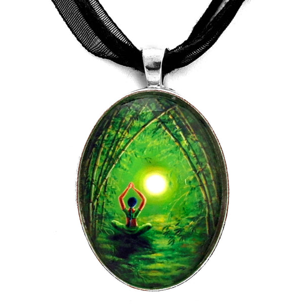 Green Tara in the Hall of Bamboo Handmade Pendant