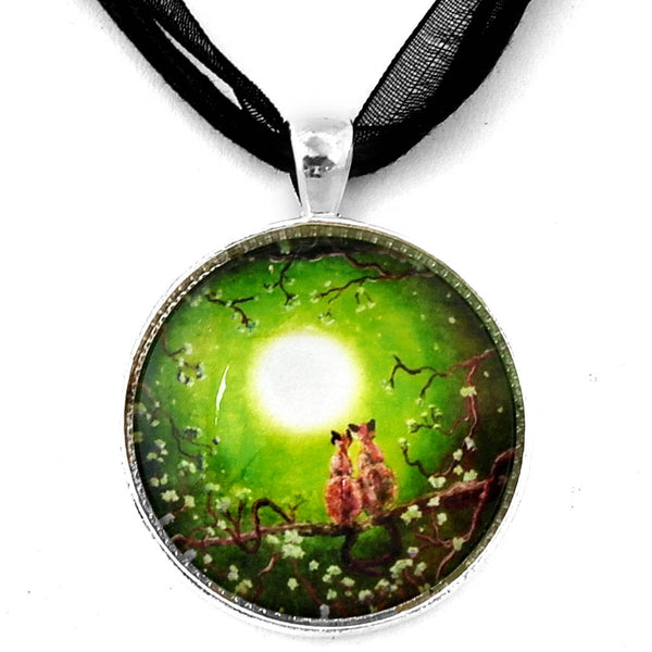 Siamese Cats in Spring Moonlight Handmade Pendant