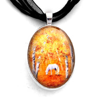 White Horse in Golden Woods Handmade Pendant