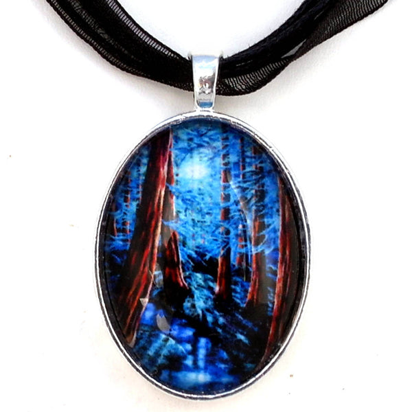 Moonrise over the Los Altos Redwood Grove Handmade Oval Pendant