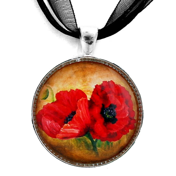 Two Red Poppies Handmade Pendant Laura Milnor Iverson Official Site
