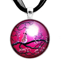 Blossoms in Fuchsia Moonlight Handmade Pendant
