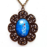 Quan Yin in Blue Moonlight Filigree Pendant