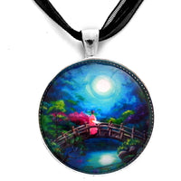 Star Gazing on Moon Bridge Handmade Pendant