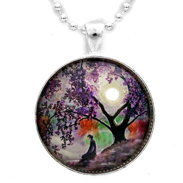 Misty Morning Meditation Handmade Round Pendant