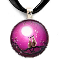 Siamese Cats in Spring Blossoms Handmade Pendant