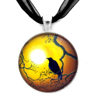 Crow in Topaz Sunset Handmade Pendant