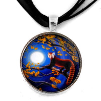 Red Panda in Golden Ginkgo Tree Handmade Pendant Laura Milnor Iverson Official Site