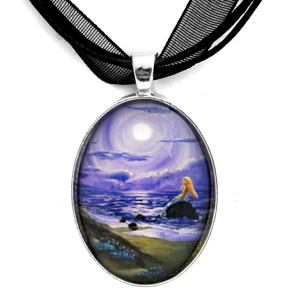 Spying a Mermaid from Flowering Sand Dunes Handmade Pendant