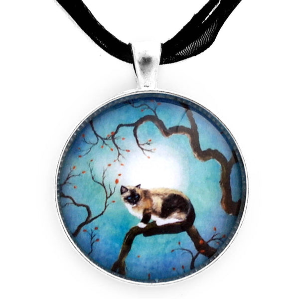 Snowshoe Siamese Cat in Teal Moonlight Handmade Pendant Laura Milnor Iverson Official Site