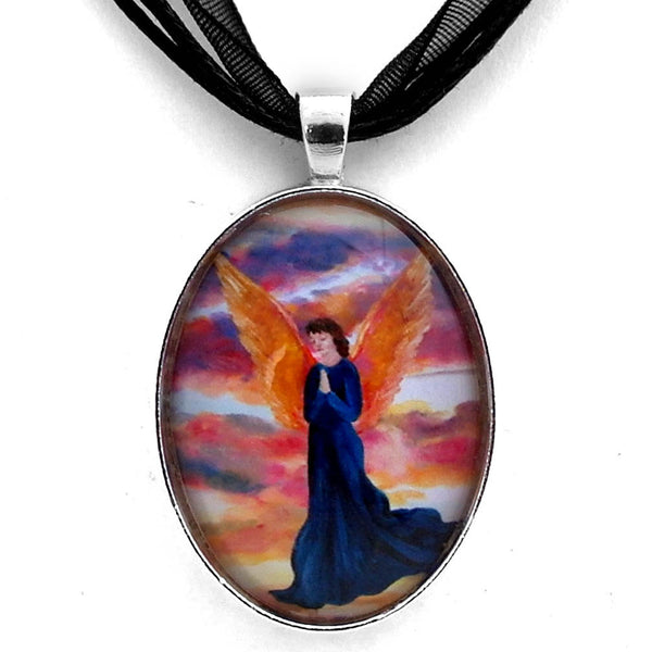 Sunset Angel with Bronze Wings Handmade Pendant Laura Milnor Iverson Official Site