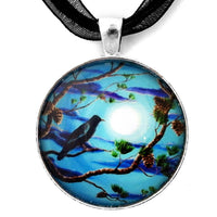 Raven in Pine Tree Branches Handmade Pendant