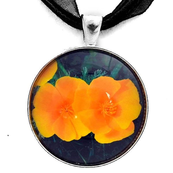 Two California Poppies Handmade Pendant