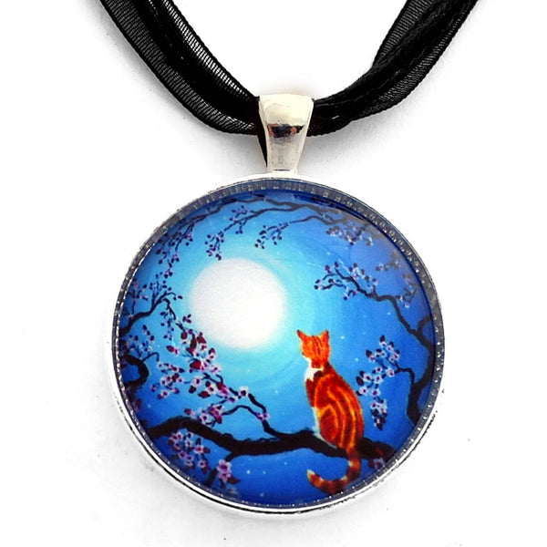 Creamsicle Kitten in Blue Moonlight Handmade Pendant