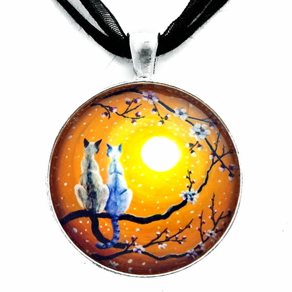 Siamese Cats Nestled in Golden Sakura Handmade Pendant