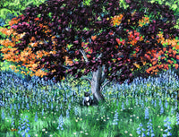 Tuxedo Cat under a Japanese Maple Tree Original Painting