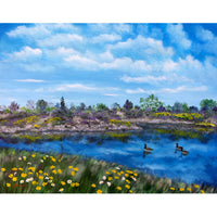 Spring Daisies at Los Gatos Lake Original Painting