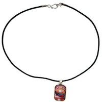 Medicine Buddha By A Waterfall Handmade Rectangle Pendant - Laura Milnor Iverson Official Site