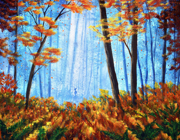 Deer in Autumn Morning Original Painting Laura Milnor Iverson Official Site