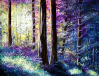 Sunlit Dawn in the Woods Original Painting Laura Milnor Iverson Official Site