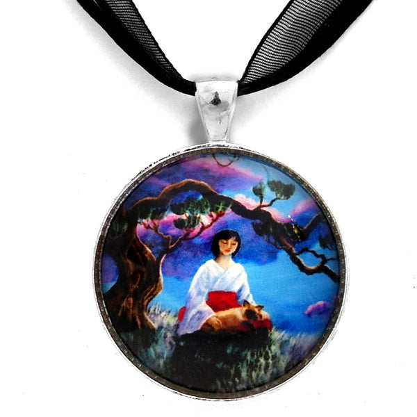 Miko and Cat Meditation Handmade Pendant