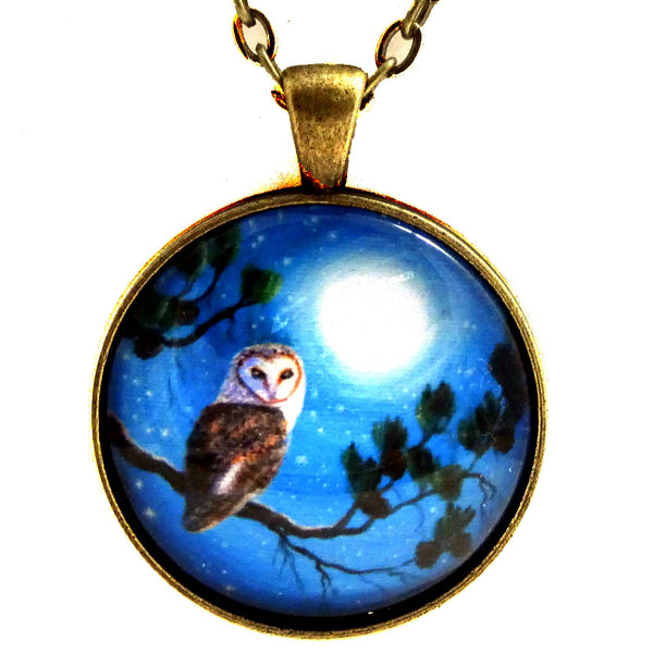 Barn Owl in Pine Tree Pendant