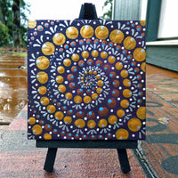 Spiral Dot Mandala Original Mini Painting on Easel